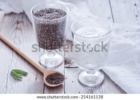 Chia Seed Pudding - stock photo