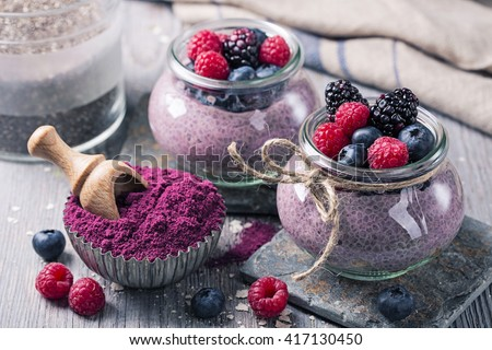 Chia seeds acai pudding with berries - stock photo