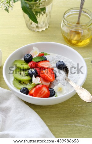 chia seeds and berries breakfast bowl, food close-up - stock photo