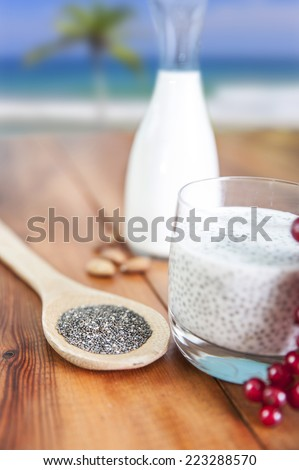 chia seeds at breakfast - stock photo