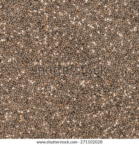 Chia seeds for texture or background, overhead view - stock photo