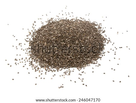 Chia seeds, isolated on a white background - stock photo