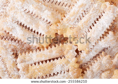 Chiacchiere, italian Carnival pastry background - stock photo