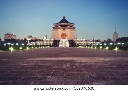 Chiang Kai-shek Memorial Hall at night in Taipei - Taiwan. - stock photo