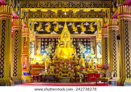 Chiang Mai - 18 November 2014: Buddha, Wat Phan Oun. This temple is one of the famous temples in the city of Chiang Mai.