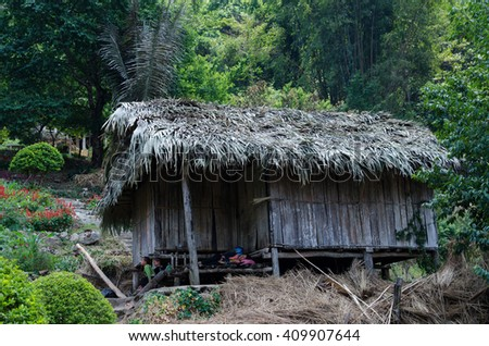 CHIANG MAI, THAILAND-APRIL 23,2016:A Small House of  ban mong doipui in thailand - stock photo