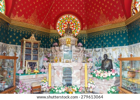 CHIANG MAI, THAILAND - APRIL 6: brass buddha statue in buddhist pagoda in Tumpaplong temple on April 6, 2015 in Chiang Mai, Thailand. - stock photo