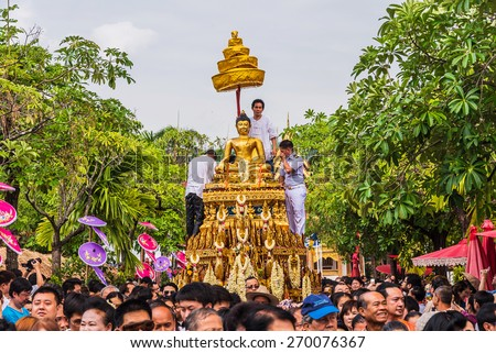 CHIANG MAI, THAILAND - APRIL 13: Buddha Phra Singh of Phra Singh temple was moved to the parade cars for pour water in Songkran festival on April 13, 2015 in Chiang Mai, Thailand.