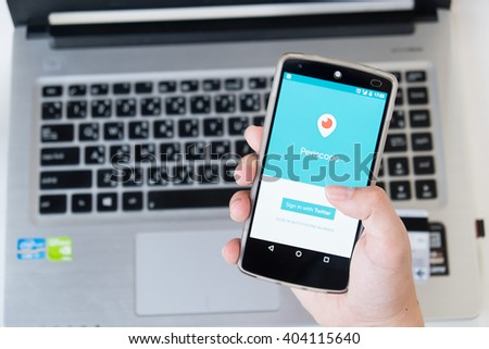 CHIANG MAI, THAILAND -April 9, 2016:LG Nexus 5 open Periscope app . Periscope is made by Twitter - lets you broadcast live video to the world.  - stock photo