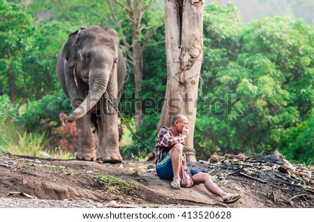 Chiang mai, THAILAND - APRIL 30, 2016:Mahout and elephant at elephant home.Thailand