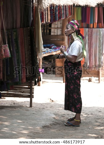 CHIANG MAI, THAILAND - 18 April 2013:  Padaung long neck hill tribe village, tribe from Myanmar