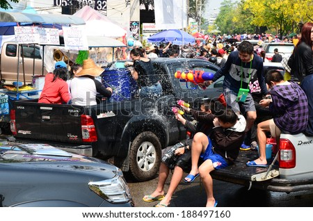 CHIANG MAI, THAILAND - APRIL 14 : People enjoy splashing water together in songkran festival on April 14, 2014 in Chiang Mai, Thailand