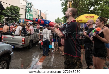 CHIANG MAI, THAILAND - APRIL 13 2015: Songkran (Thai New Year Celebration). The annual water festival in Chiang Mai City, Northern Thailand.