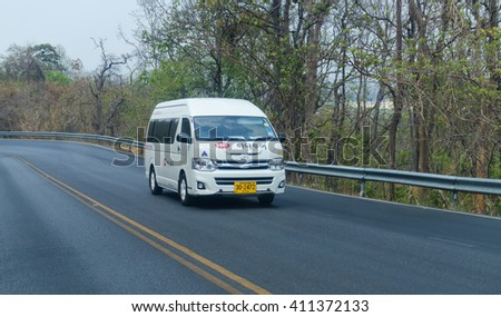 CHIANG MAI, THAILAND-APRIL 23,2016: Toyota commuter van tourists to the city  chiang mai,thailand