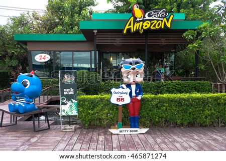 CHIANG MAI ,THAILAND - AUGUST 7, 2016  :  Amazon Cafe in PTT gas station, famous coffee shop chain in gas station in Thailand. CHIANG MAI ,THAILAND.