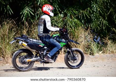 Chiang Mai / Thailand   December 12, 2012: Motorcyble Kawasaki D Trakker