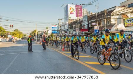 "Chiang Mai,THAILAND, December 11-2015 : This event is ""Bike for dad "" from Thailand. Bike for dad event show respected to king and make Thailand's cyclists ride along the city road."