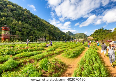 Chiang Mai, Thailand - December 10, 2015: Unidentified tourists are enjoying at a garden in Chiang Mai, THAILAND.