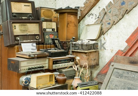 CHIANG MAI, THAILAND - FEB 26: Vintage radio receptor and some other antiques and old electronic devices inside antique shop on February 26, 2016. King Mengrai founded the city of Chiang Mai in 1296
