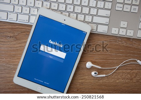 CHIANG MAI, THAILAND - February 8, 2014: Facebook application sign in page on Apple iPad. Facebook is largest and most popular social networking site in the world. - stock photo