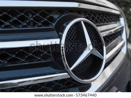 CHIANG MAI, THAILAND - February 7,2017:Mercedes Benz logo close up. Mercedes-Benz is a German automobile manufacturer. The brand is used for luxury automobiles, buses, coaches and trucks.