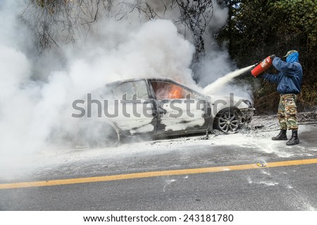CHIANG MAI, THAILAND - JANUARY 1 : Car fire due to a gas explosion. While driving up to the hill. This makes all the damaged on car but driver is safe on January 1, 2015 in Chiang Mai, Thailand. - stock photo