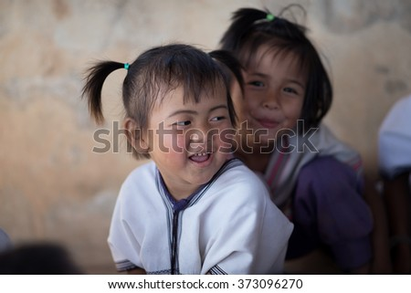 Chiang Mai, Thailand - January 21, 2016: Children Karen in Omkoi, Omkoi is the southwesternmost district of Chiang Mai Province in northern Thailand.