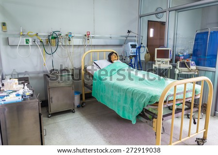 CHIANG MAI, THAILAND - JULY 03 : Dummy patient on the bed use for trainer nursing student in nursing university on July 03, 2014 in Chiangmai, Thailand.