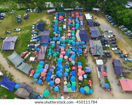 CHIANG MAI, THAILAND - JULY 8, 2016 : Thai flea market is for people who want to buy food or raw material to cook at home for dinner, some sell other stuff too and open once or twice a week