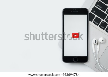 CHIANG MAI, THAILAND - Jun 24,2016: Youtube application on Apple iPhone. YouTube is a free video sharing application that anyone can watch. - stock photo