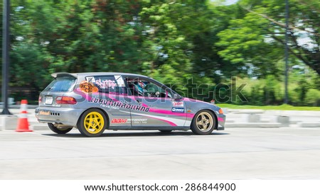 CHIANG MAI, THAILAND - JUNE 07: Undefined Drivers race wheel-to-wheel on Raceway (Temporary street ) , JUNE 07, 2015 in Chiang Mai, Thailand.