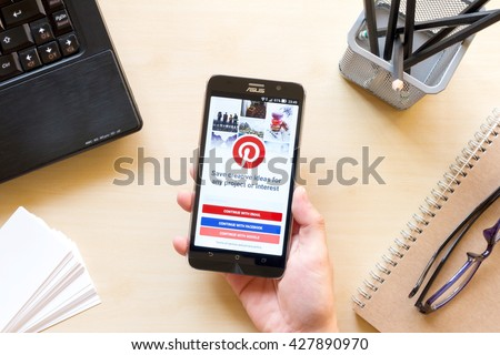 CHIANG MAI, THAILAND - MAR 18, 2016: screen shot of Pinterest application showing on Asus Zenfone 2 mobile phone. Pinterest is an online pinboard that allows people to pin their interesting things.