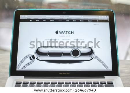 CHIANG MAI, THAILAND - March 10, 2015: Apple Computers website close up details on Apple Macbook Pro with the Apple Watch wearable technology device. - stock photo