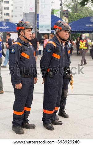 Chiang Mai, Thailand - March 25, 2016: Paramedic in mock disaster drill at Maya shopping center in Chiang Mai, Thailand on March 25, 2016.