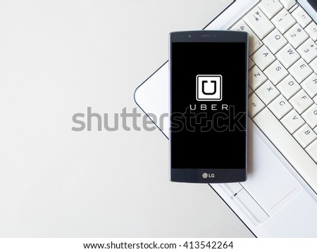 CHIANG MAI,THAILAND - MAY 01, 2016: Uber mobile apps. Uber - Company of San Francisco, established under the eponymous mobile application for searching, calling and paying a taxi or private drivers.