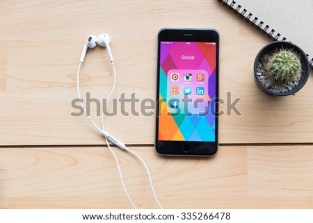 CHIANG MAI,THAILAND - NOV 2,2015:Group of Popular Social networks icons showing on Apple iPhone 6 plus screen device. - stock photo