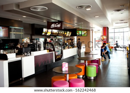 CHIANG MAI,THAILAND - NOVEMBER 8: Mccafe interiors at Star Avenue on November 8, 2013 in Chaing mai ,Thailand - stock photo
