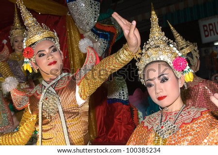 CHIANG MAI, THAILAND - NOVEMBER 11: Thai people takes part in a parade of the Loy Krathong Festival in Chiang Mai, Thailand on November 11, 2011