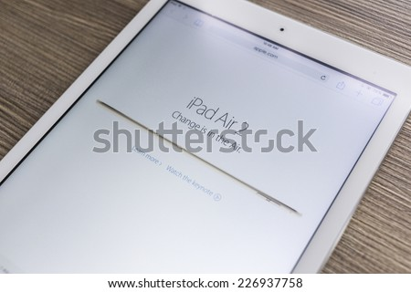 CHIANG MAI, THAILAND - OCTOBER 21, 2014: Apple Computers website with the newly launched tablet Apple iPad Air 2 seen on Apple iPad Air. - stock photo