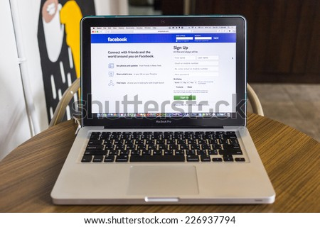 CHIANG MAI, THAILAND - OCTOBER 21, 2014: Facebook application sign in page on Apple macbook pro. Facebook is largest and most popular social networking site in the world. - stock photo