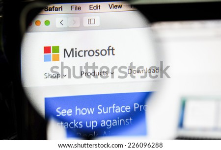 CHIANG MAI, THAILAND - OCTOBER 22, 2014: Microsoft homepage close up on laptop screen. - stock photo