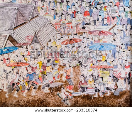 CHIANG MAI,THAILAND - OCTOBER 27, 2014 : Thai mural painting of Lanna people life in the past on temple wall of Wat Chaimongkol Temple in Chiang Mai, Thailand.  - stock photo