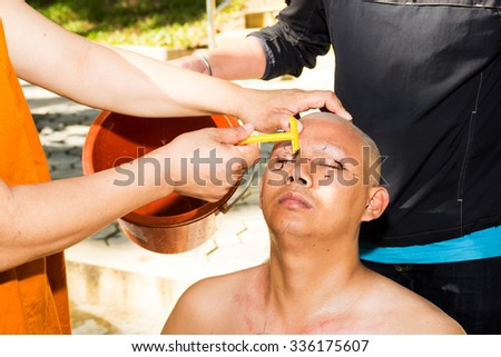 Chiang Mai, Thailand on November 5: Buddhist monks will be ordained as a monk, I cut a new year's November 5, 2015
