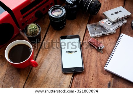 CHIANG MAI, THAILAND - SEP 29, 2015 Group of Popular Social networks icons showing on Apple iPhone 6 plus screen device. - stock photo