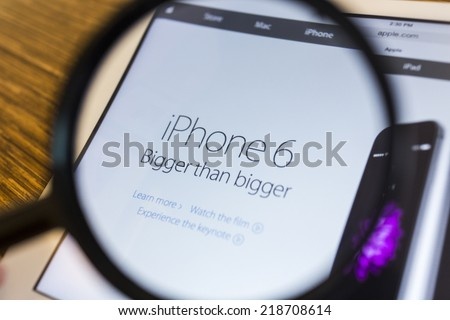 CHIANG MAI, THAILAND - September 17, 2014: Apple Computers website with the newly launched smart phones Apple iPhone 6 and iPhone 6 Plus seen on Apple iPad Air. - stock photo