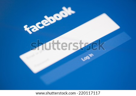 CHIANG MAI, THAILAND - SEPTEMBER 28, 2014: Facebook application sign in page on Apple iPad. Facebook is largest and most popular social networking site in the world.