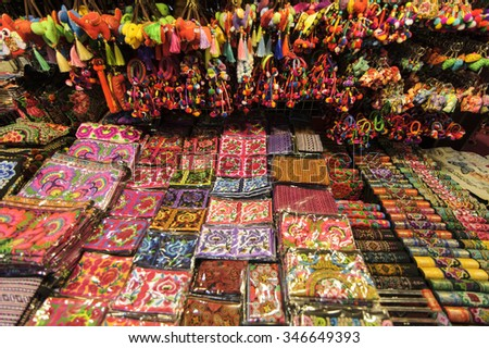 CHIANG MAI THAILAND - 29 SEPTEMBER 2015 : Night Bazaar market , Local handicrafts of colorful bag or pouch of versatile, night market is open every day.