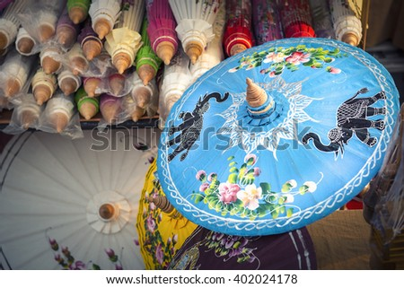 Chiang Mai umbrella shop, Chiang Mai ,Thailand (Thai Pattern) - stock photo