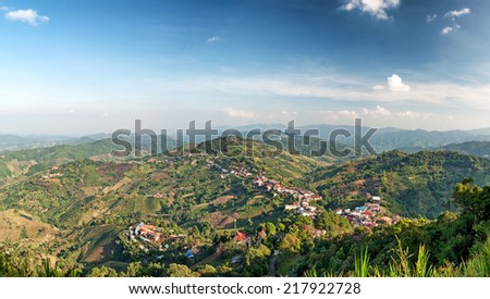 Chiang Rai hills village landscape panorama. Northern Thailand - stock photo