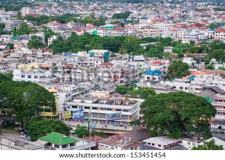 Chiang rai of Thailand with bird s eye view, maesai - stock photo